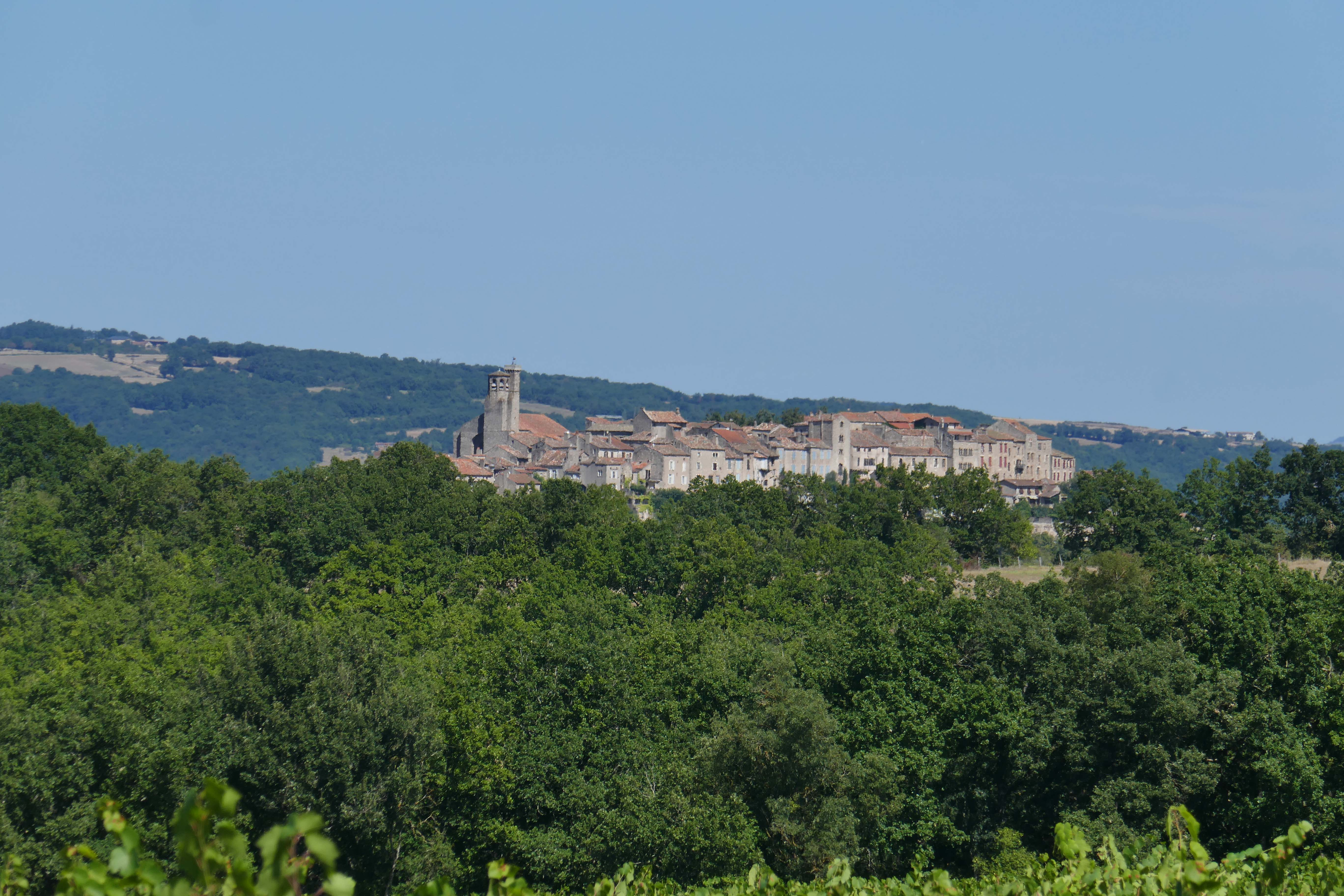Approaching a hilltop town in the south of France