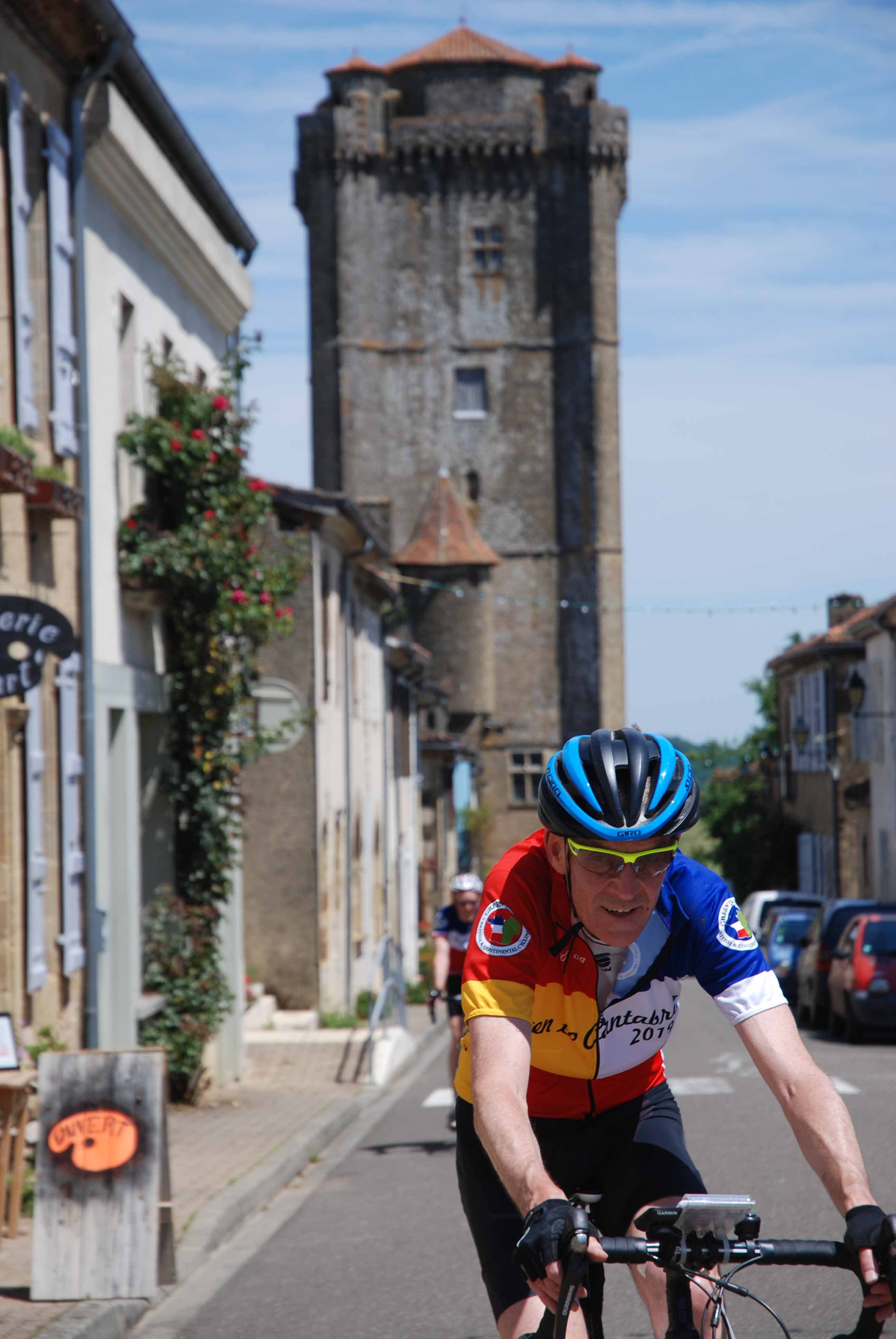 Riding into a mediaeval bastide (fortified) village in Gascony.