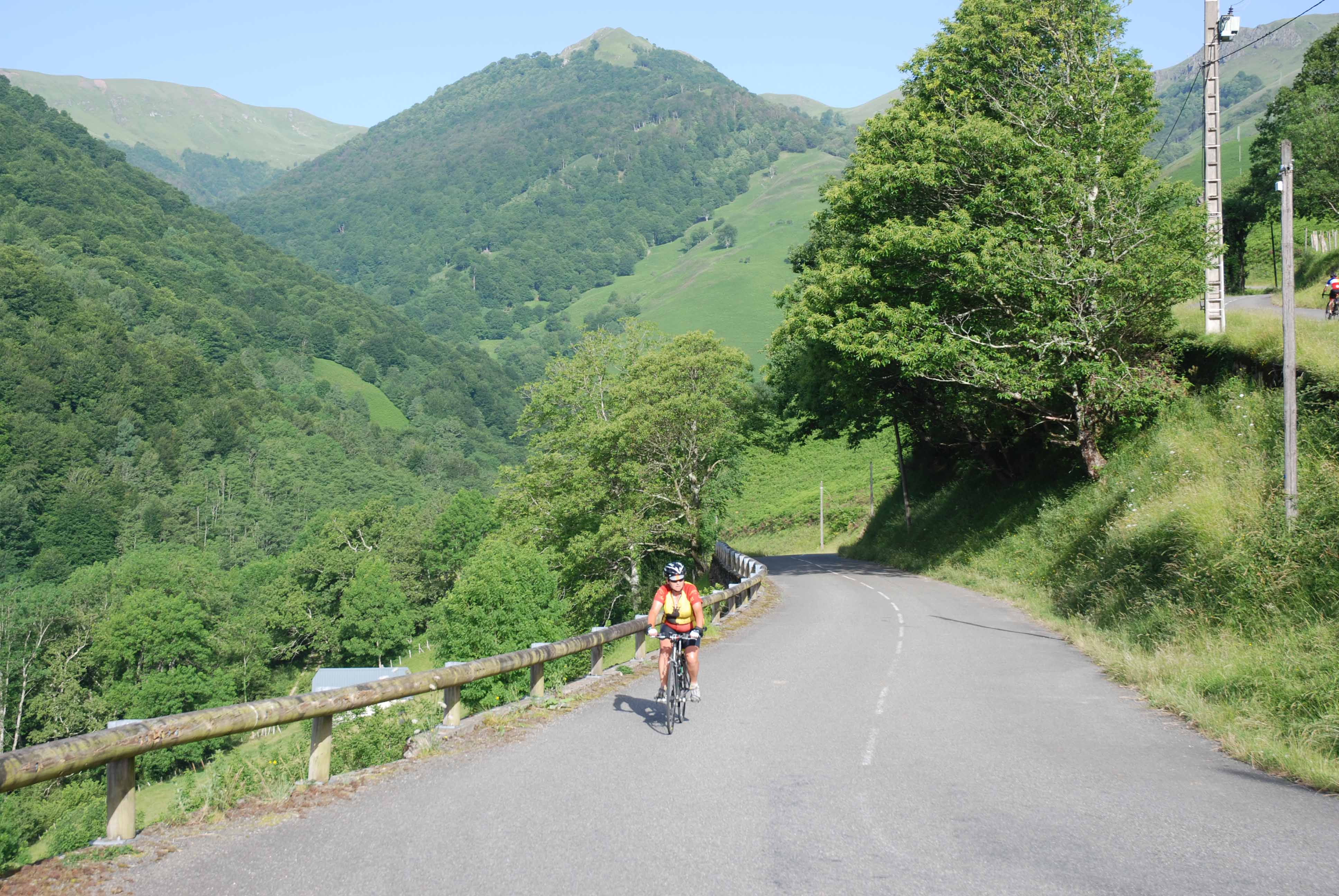 A typical climb in the Pyrenees. No traffic and good surfaces.