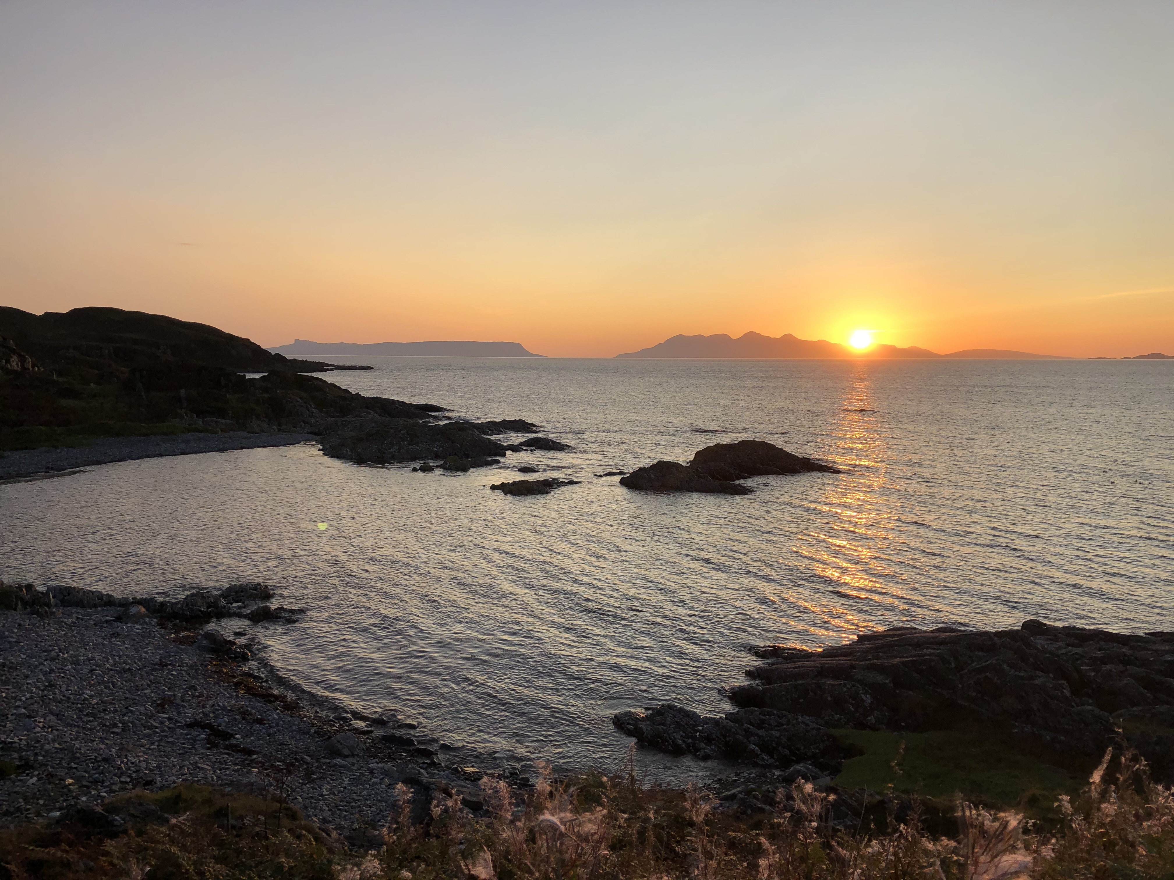 Sunset over Eigg and Rum with Skye to the right - from our hotel