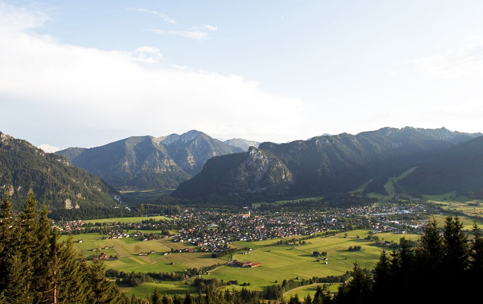 Oberammergau with the Alps behind