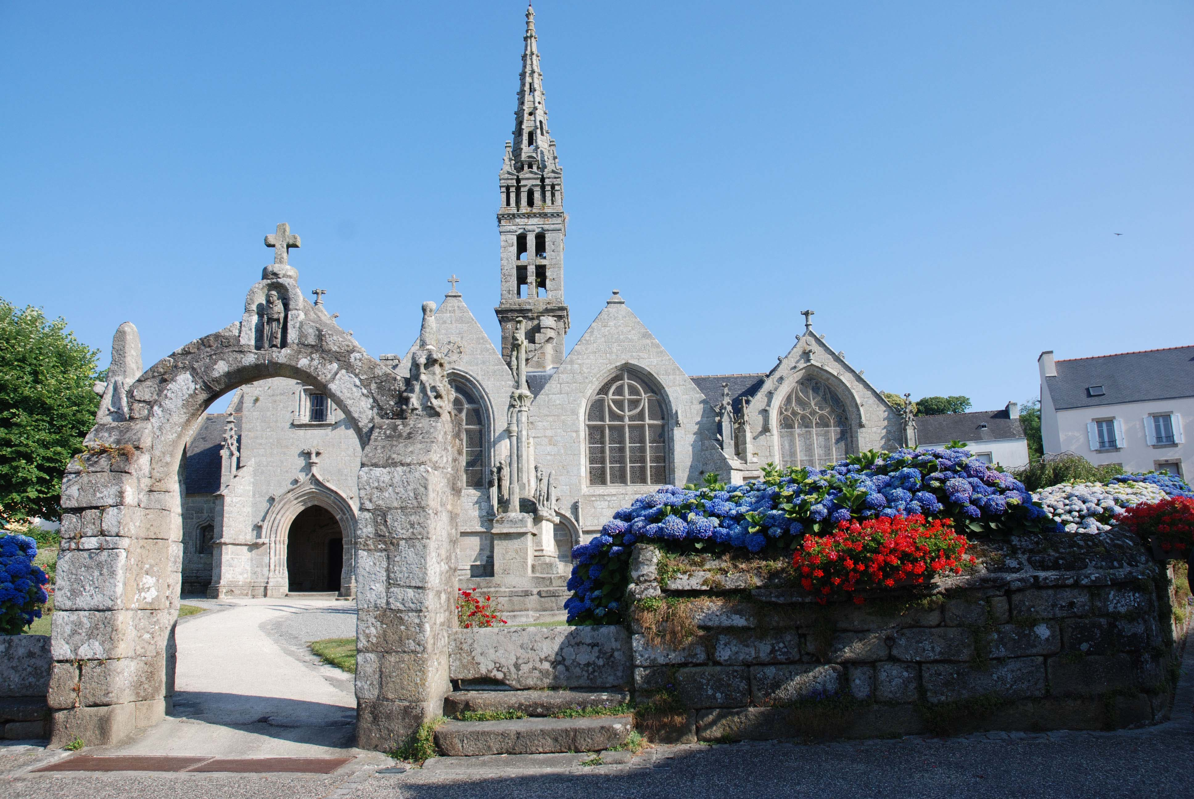 Cycling in Brittany past pretty churches