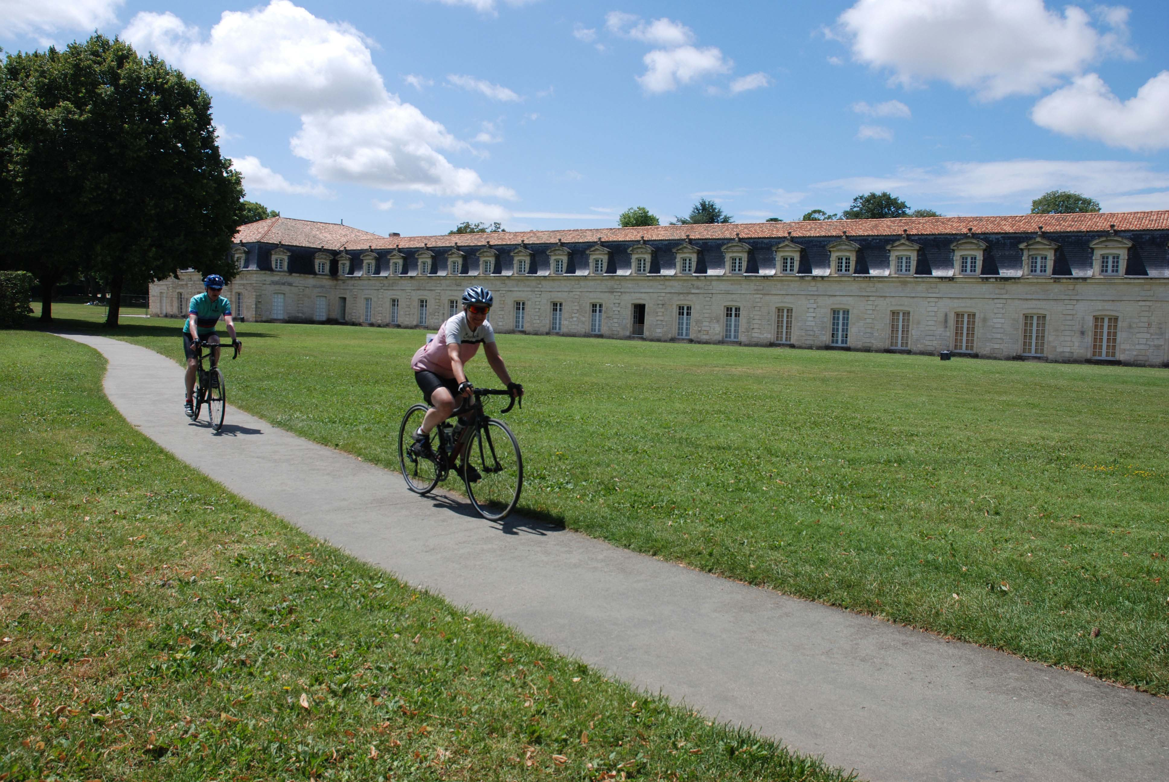 Cycling past France's longest building in the Charente Maritime